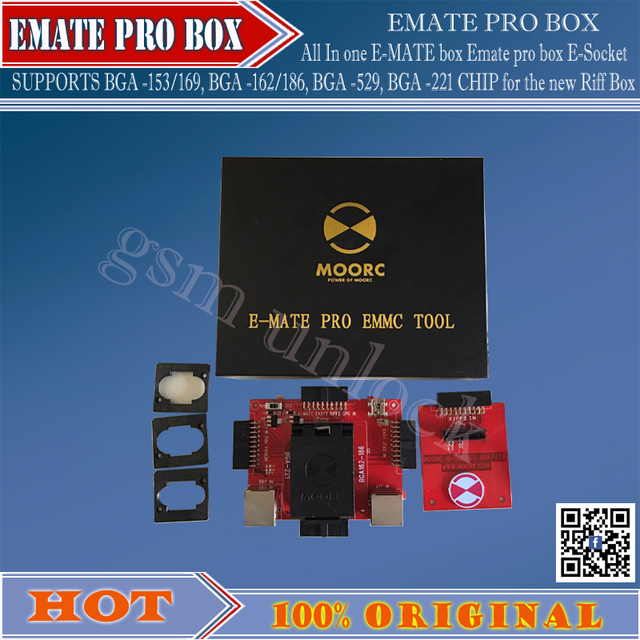 Hot! All In  one   E-MATE box Emate pro box E-Socket SUPPORTS  BGA -153/169, BGA -162/186, BGA -529, BGA -221 CHIP for Riff  Box