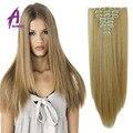 100% Natural Do Cabelo Clipe Loira Em Extensões de cabelo Humano Real Remy Extensões de Cabelo Humano 613 # Grampo de Cabelo Peruano Em Extensões