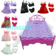 "Plastics Bed Sleeping Toy / Pajamas Dress Bedroom Furniture Accessories For Barbie Kurhn 11.5"" 12"" Doll xMas Gift Kid Play House"