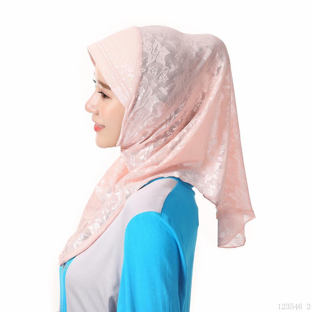 Summer Muslim Breathable Hejab Scarf Malaysia Lace Hijab Femme Musulman Headscarf Islamic Head Scarves Full Cover Caps