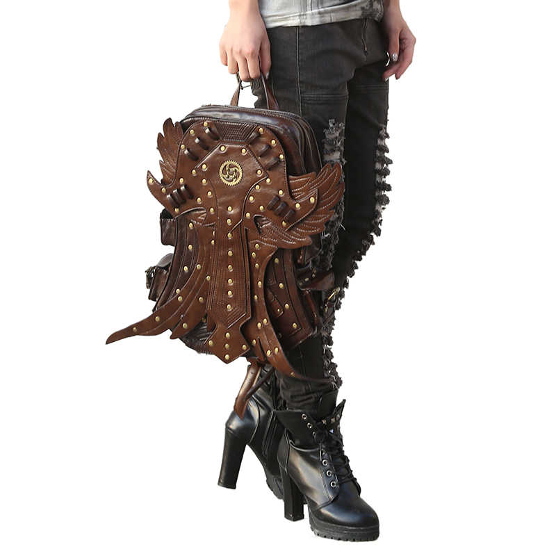 Steampunk 남자 배낭 빈티지 패션 고딕 레트로 락 가방 PU 가죽 펑크 가방 여자 브라운 분리형 윙 배낭