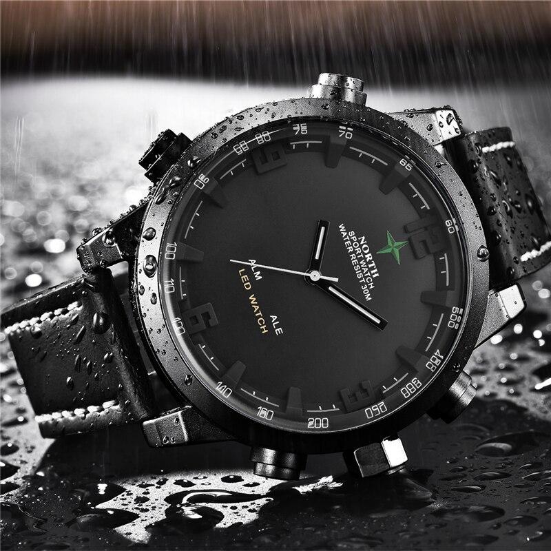Элитный бренд North повседневное спортивные кварцевые часы для мужчин кожа аналоговые электронные цифровые часы Военная Униформа ч...