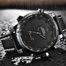 יוקרה מותג צפון מקרית ספורט קוורץ שעון גברים עור אנלוגי אלקטרוני דיגיטלי שעון צבאי שעונים איש Relogio Masculino