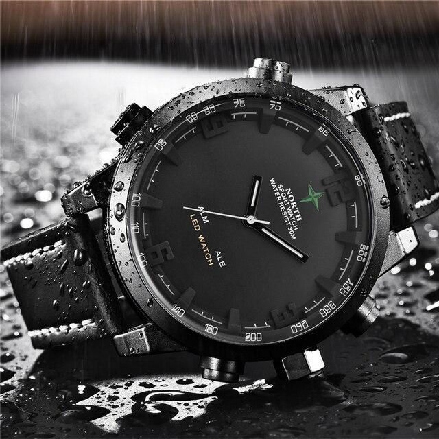 Luksusowa marka North Casual sport zegarek kwarcowy mężczyźni skórzany analogowy cyfrowy zegarek elektroniczny wojskowy zegarki człowiek Relogio Masculino