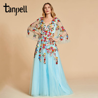 Tanpell appliques prom dresses sweety sky blue 3/4 sleeves floor length a line gown women backless party custom long prom dress