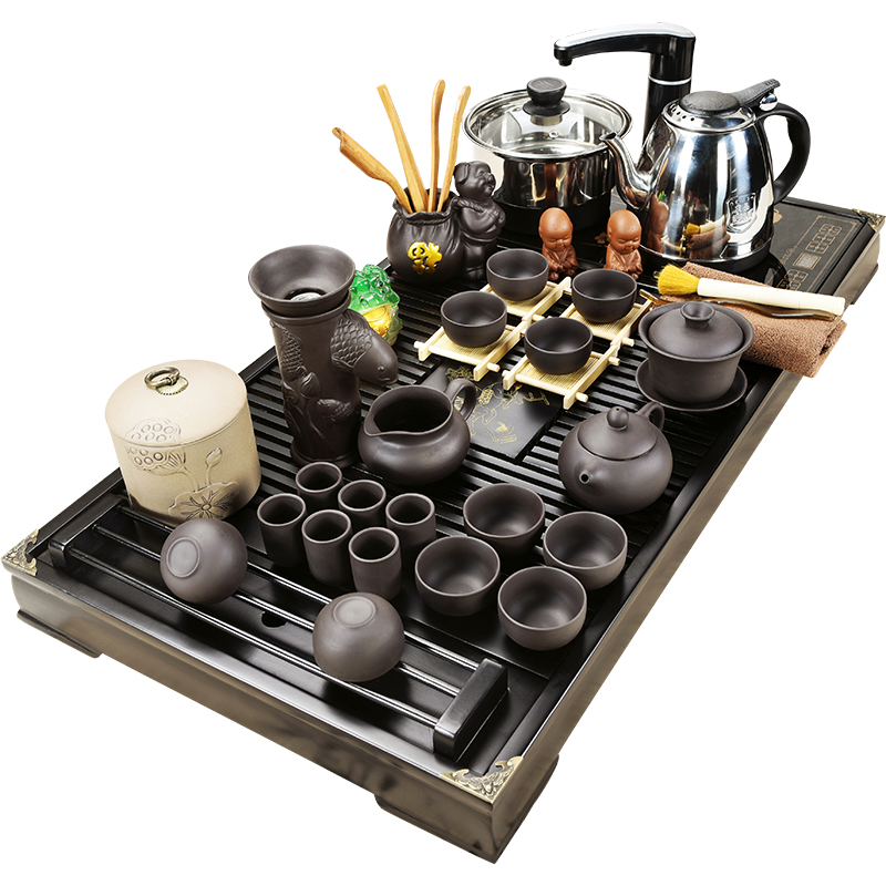 Hot SaleHigh Quality Household  Ceramic Tea Set, Electric Heating Magnetic Furnace Tea Table, Tea Ceremony, Solid Wood Tea Plate