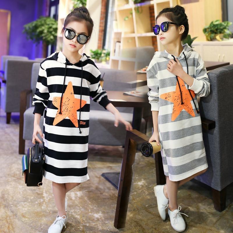 Hooded T Shirts Kids Dresses For Girls 2018 Spring Stars Printed Black Gay Striped Dress Girl Little Teenage Girls Clothing