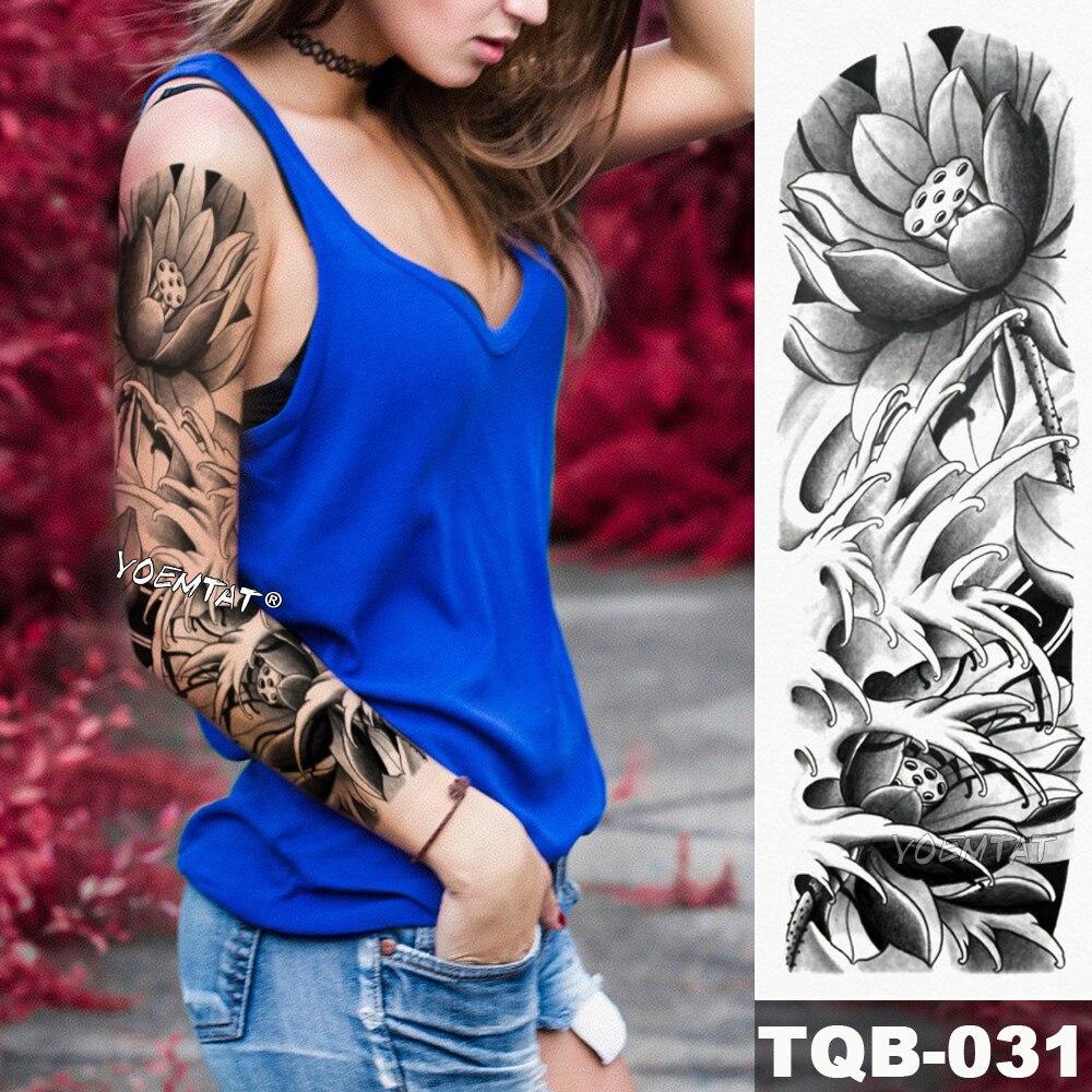 New 1 Piece Temporary Tattoo Sticker Black Lotus Flower Style Tattoo With Arm Body Art Big Sleeve Large Fake Tattoo Sticker Temporary Tattoos Aliexpress