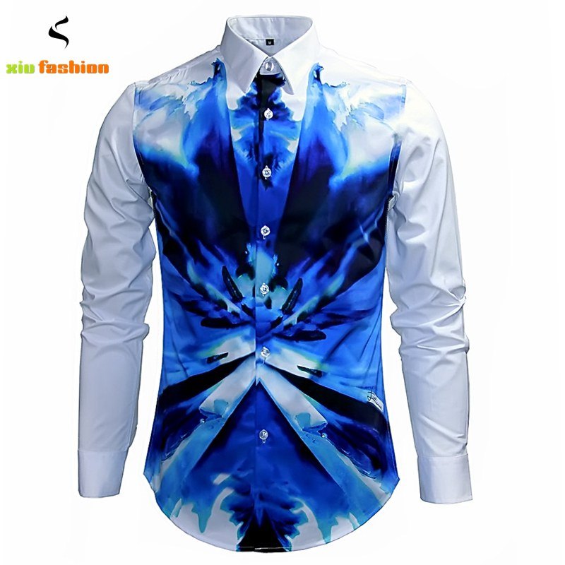 Luxury brand mens fancy shirts retro long sleeve cotton for Expensive mens dress shirts brands