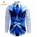 Luxury Brand Mens Fancy Shirts Retro Long Sleeve Cotton Button Dress Shirts Man Casual Slim Fit Noble Classic Chic Royal Shirt