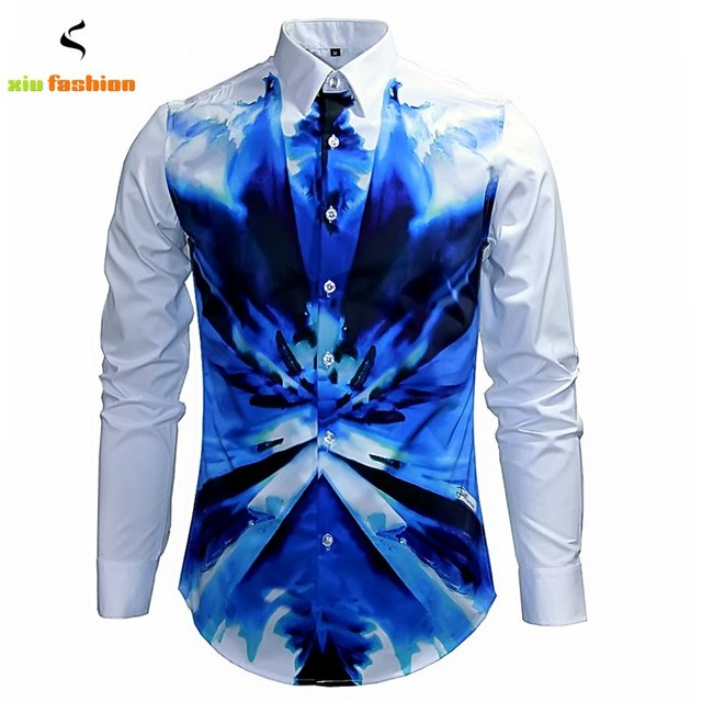 Luxury Brand Mens Fancy Shirts Retro Long Sleeve Cotton Button ...