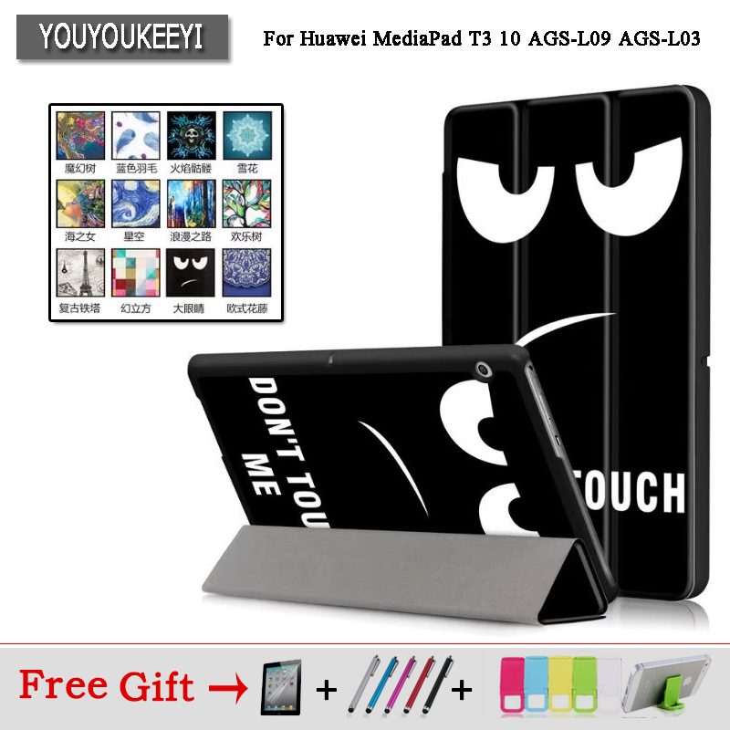 Case For Huawei MediaPad T3 10 AGS-W09 AGS-L09 AGS-L03 9.6 Cover Funda Tablet for Honor Play Pad 2 9.6 Slim Flip Case+Film+Pen