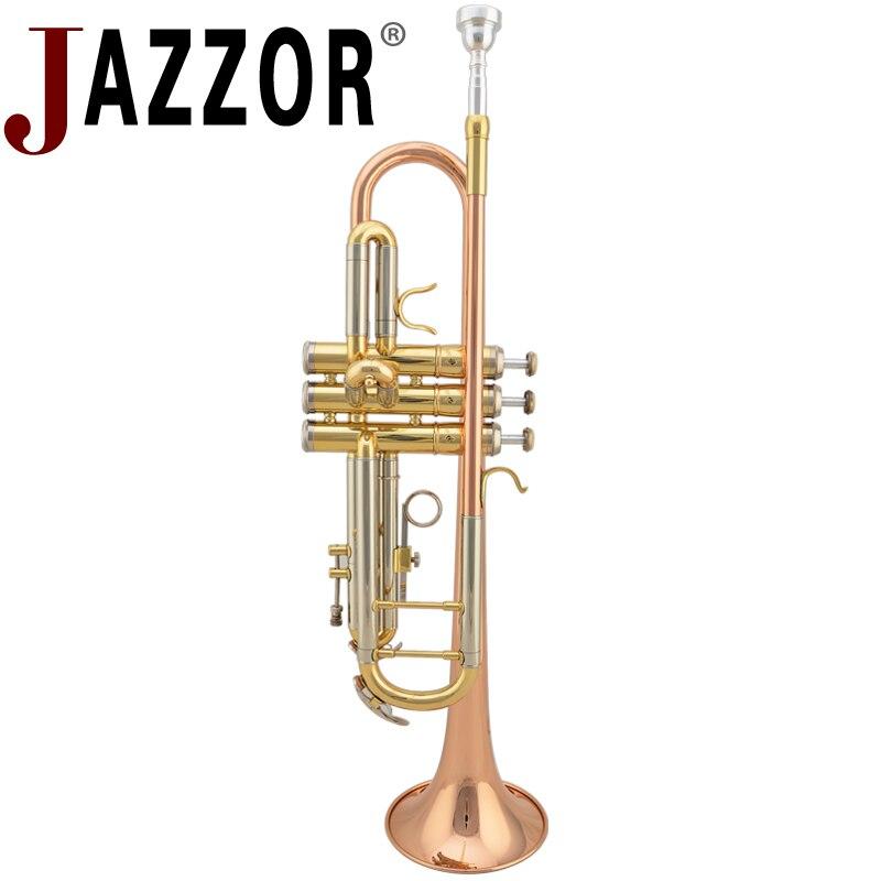 JAZZOR JZTR-400 profesional trompeta B plana oro laca trompeta latón instrumentos de viento con funda y boquilla