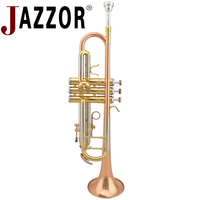 JAZZOR JZTR 400 professional trumpet B flat Gold lacquer trumpet Brass wind instruments with case and mouthpiece