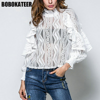 BOBOKATEER Fashion White Lace Blouse Women Blouses Shirts Women Tops And Blouses Long Sleeve Blusas Mujer
