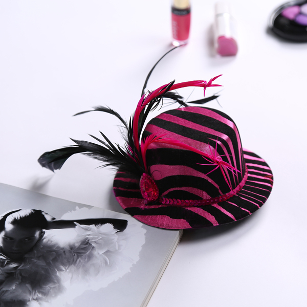 12pcs Of Hen Party Wedding Feather Decorated Pink Zebra Mini Top Hat Hair Clip Bachelorette Hens