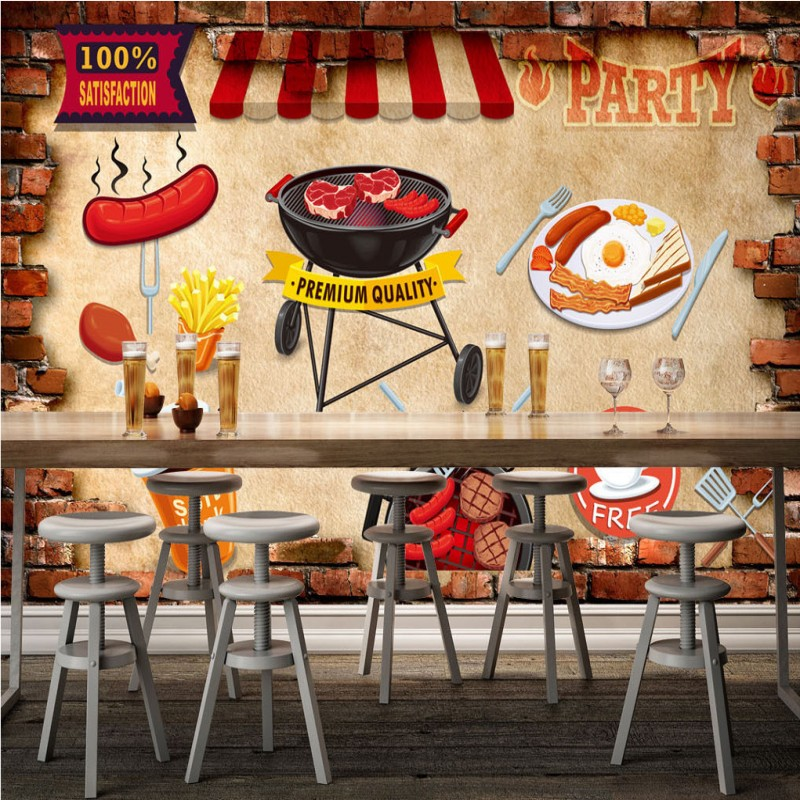 Photo wallpaper grill barbecue food setting wall