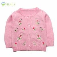 Hoa Bé Gái Áo Len Toddler Crochet Cardigan O-Cổ Cô Gái Áo Len Áo Sơ Mi Cotton Mùa Thu Trẻ Em Áo Len Bé Cô Gái Quần Áo