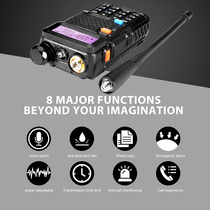 Baofeng UV 5R Professional Walkie Talkie 5W UHF VHF Portable UV5R Two Way Radio Station UV 5R Hunting CB Transceiver Ham Radio in Walkie Talkie from Cellphones Telecommunications