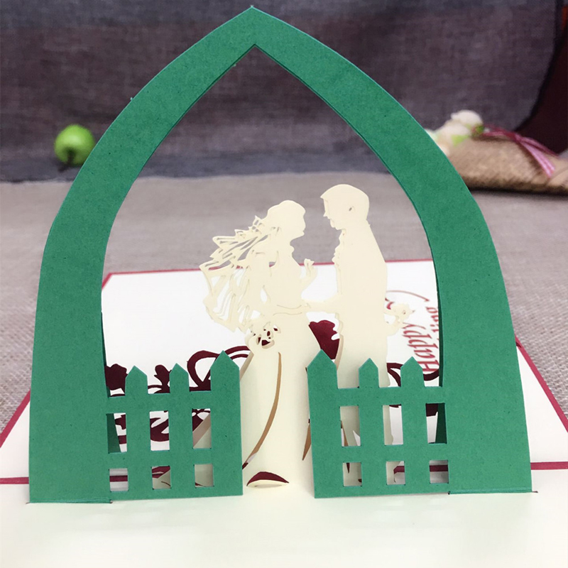 1pcs Sample 3D Laser Cut Paper Greeting Pop Up Kirigami Card Bride and Groom Wedding Invitation Valentine's Day Postcards Gifts