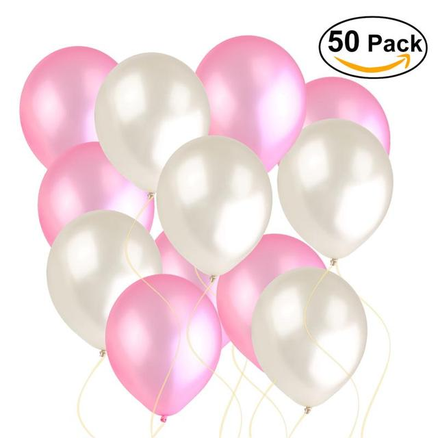 BESTOYARD 50pcs Pearly Lustre Balloon For Wedding Birthday Party Decoration  For Kids Fun Toy (White & Pink)