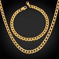 Ожерелье Браслет Мужчины Ювелирные Изделия Устанавливает Кубинские Цепи Позолоченный Набор Ювелирных изделий Для Мужчин Нержавеющей Стали 316L GNH227