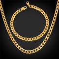 Necklace Bracelet Men Jewelry Sets Cuban Chain Gold Plated Fashion Jewelry Set For Men 316L Stainless Steel GNH227