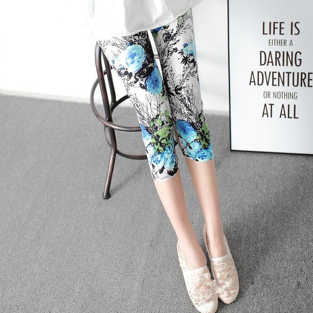 Leggings Summer Women High Waist Elastic Trousers Women Pants Printed Stretch Leggings Calzas Mujer Leggins
