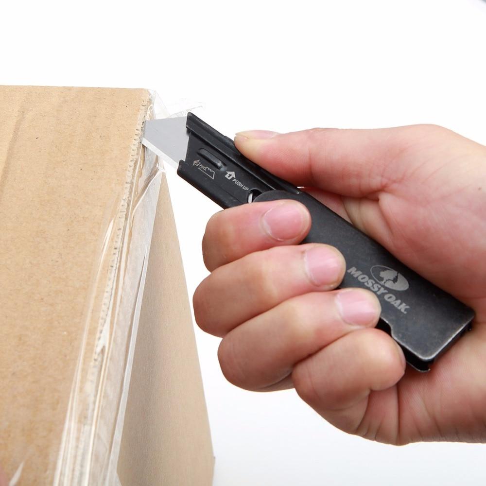 Купить с кэшбэком MOSSY OAK 2PC Folding Utility Knife Set Stainless steel Knife for Cutting Box Paper Quick-change Blade Knife