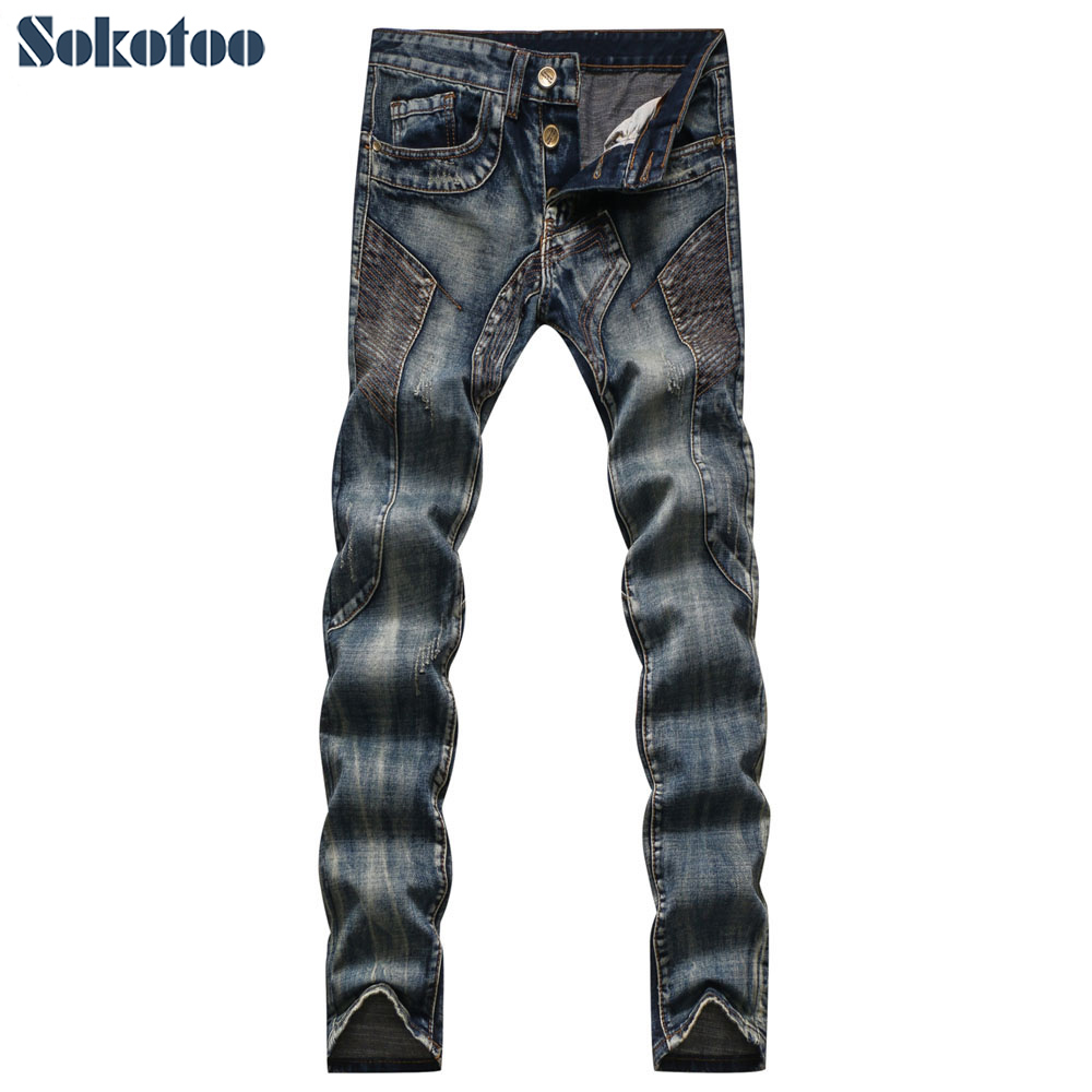 Sokotoo Men's vintage patchwork washed denim   jeans   Casual pocket spliced buttons fly slim straight pants Long trousers