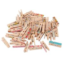 OUNONA 50pcs Wooden Pegs Clips Note Memo Holder Painting Clothespin Random Color(China)