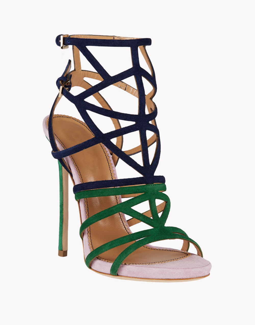 73e7ef62c5c Name brand multicolor suede strap crisscross sandals contrast color strappy  sandals double ankle buckle strap high heel sandals-in Women s Pumps from  Shoes ...