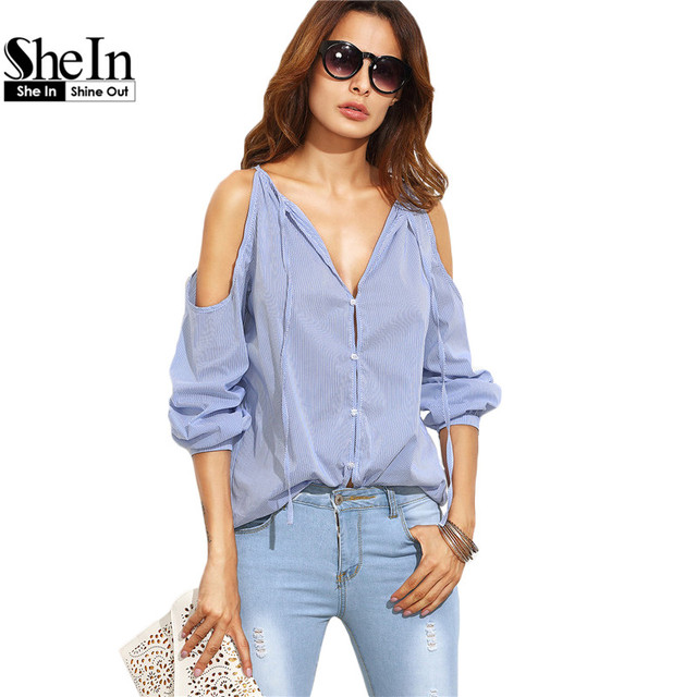 SheIn Womens Tops Fashion 2016 Ladies Casual Blouses For Autumn Blue Striped V Neck Cold Shoulder Long Sleeve Blouse