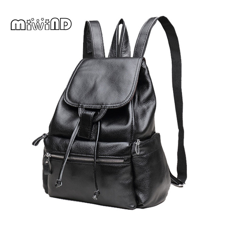 MIWIND Women Leather School Bags for Teenagers Women Backpack Leather Backpack String Women Bag Mochila Feminina