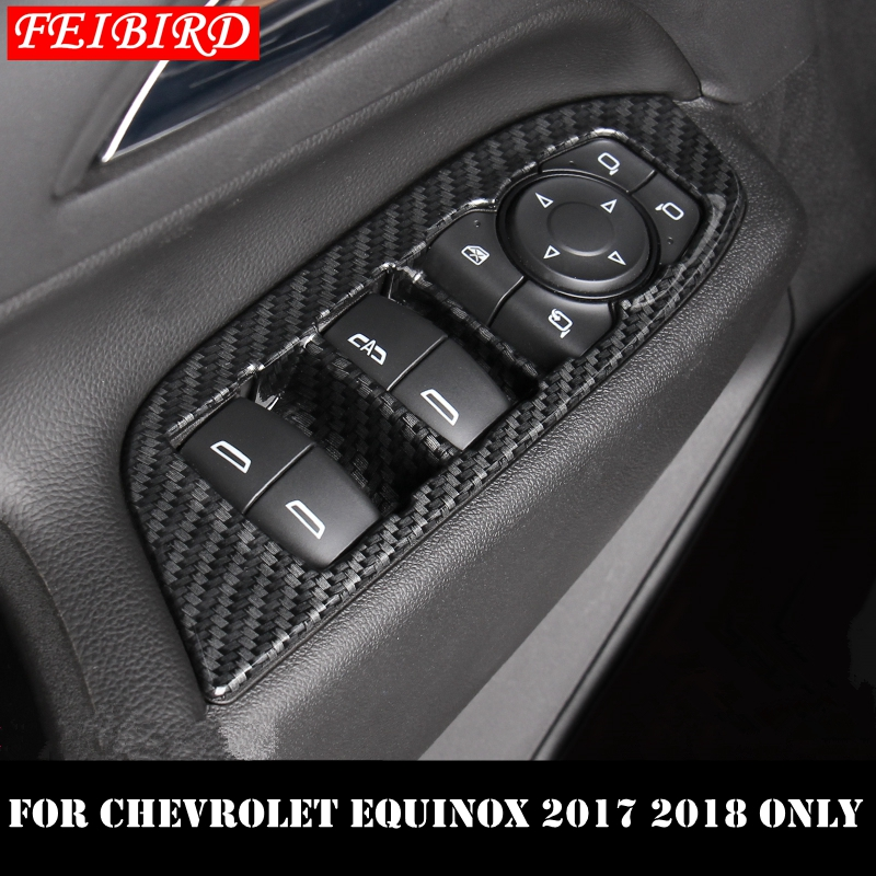For Accessories Chevrolet Equinox 2018 Carbon Fiber Door Window Lift Cover Panel
