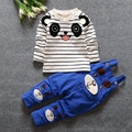 Crianças Roupas Ternos 2016 Ursos de Tiras de Algodão de Manga Longa Listrada T shirt + Terninhos Menino Bebê Primavera Roupas Ffor 12m-3years