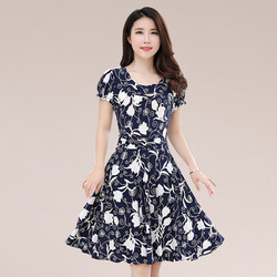 2019 new Plus Size Summer Slim Thin Sexy Short Sleeve Dress Lady Print Floral Dress women clothes 1