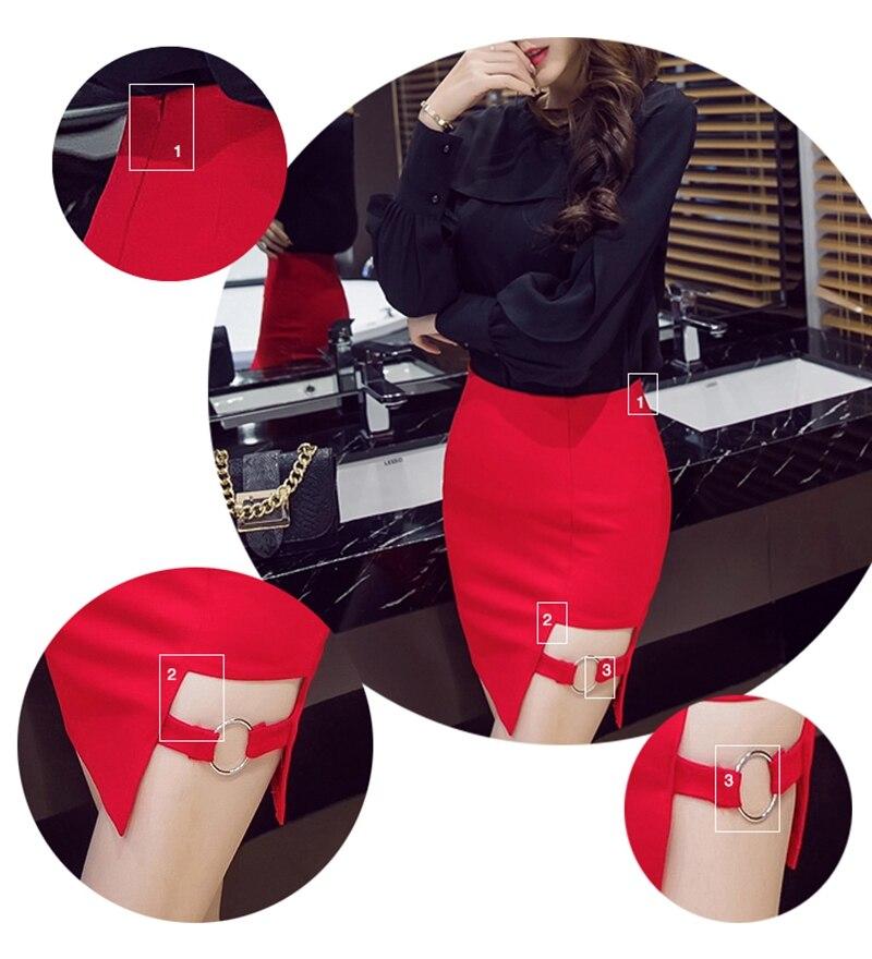S-5XL Plus Size Black Pencil Skirt Summer 2017 Bodycon High Waist Skirts Women's Faldas Cortas Saia Tight Sexy Mini Skirt Red 4