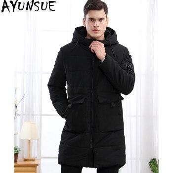 AYUNSUE Autumn Winter Jacket Men Parka Medium Long Coat Korean Thick Black Hooded Winter Jackets Mens Winterjas Heren KJ757