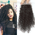 "Brazilian Kinky Curly Virgin Hair Lace Closure Bleached Knots 7A Human Hair Free Middle 3 Part Lace Closure 10""-20"" Available"