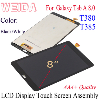 WEIDA LCD Replacment 8 For Samsung Galaxy Tab A 8.0 T380 T385 LCD Display Touch Screen Assembly SM T380 WIFI/ SM-T385 3G tab a 8 0 2017 litchi folio pu leather case flip cover for samsung galaxy tab a 8 0 2017 a2s t380 t385 sm t385 tablet case