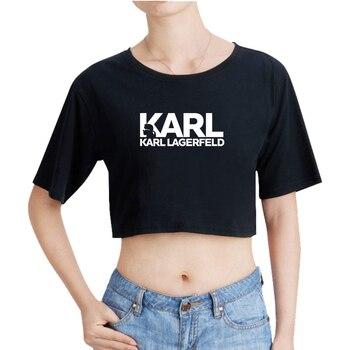 54df3dff9fc LuckyFriday Karl Lagerfeld Tops 2019 Venta caliente verano/primavera Camiseta  corta mujeres ropa Sexy Casual mujeres Tops Culturismo