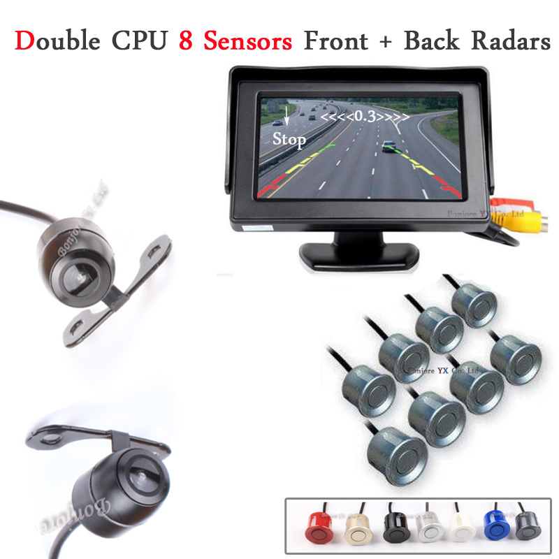 4.3' Car Monitor Reverse Radar Monitor System 8 Alarm Sensor with Front View Camera + Rear view Camera Parking Assistance System xy 3026 car front and rear view camera control box system switch black