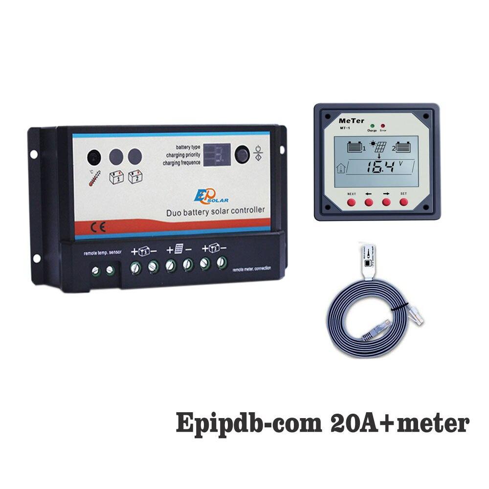20A 12 V 24 V EP EPIPDB-COM Double Duo Deux Batterie Solaire régulateur de charge Régulateurs avec MT-1 Mètre