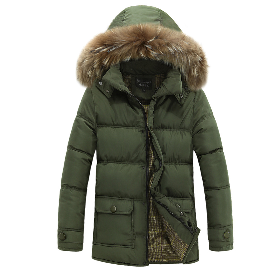 Hot Sell Men Winter Parkas Solid Coat Warm Jacket Slim Casual Hooded Collar Clothes Fashion Outwear Jackets Brand Parkas Tops