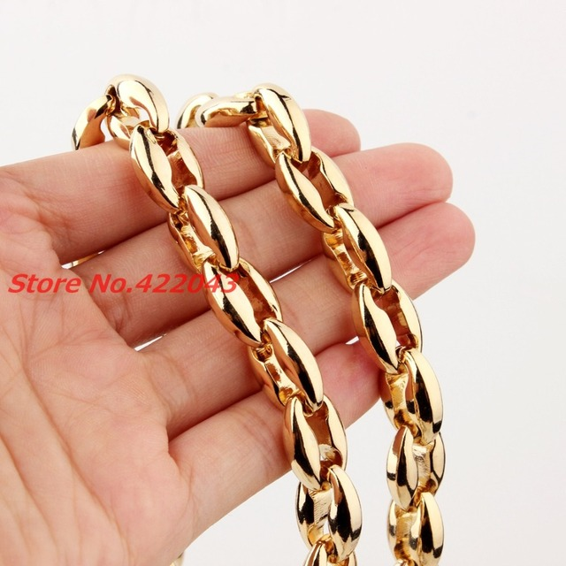 "Wholesale\ Retail! 22""*12mm Trendy Stainless Steel Gold Plated Hollow Out Coffee Beads Bean Chain Neklace Men Womens jewelry"