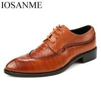 Men Formal Shoes Leather Luxury Brand Snake Fish Skin Pointed Toe Dress Footwear Male Office Italian