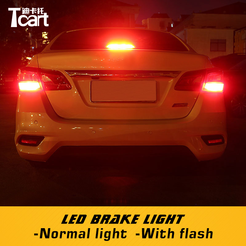 US $14 07 15% OFF|Tcart Car LED Rear Tail Backup Light Red Stop Brake W21W  7443 Lamps For Nissan sentra b17 2012 2014 2015 2018 car accessories-in