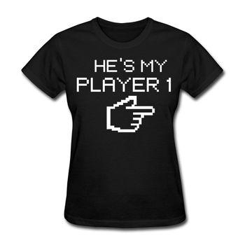 Camiseta de jugador 1 Gamer para mujer, Camisetas estampadas para mujer, estilo de moda, precio barato, camisetas para mujer, personaje de dibujos animados