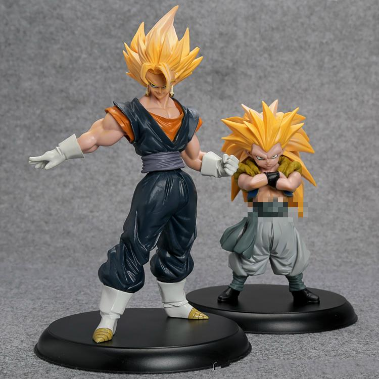 ФОТО SANITGI Dragon Ball Z Super Saiyan Son Goku Gotenks PVC Action Figures Collectible Model Toys 2pcs/set  Anime Toy